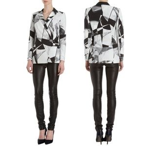 Helmut Lang Blazer Abstract Print Cross Front Belt
